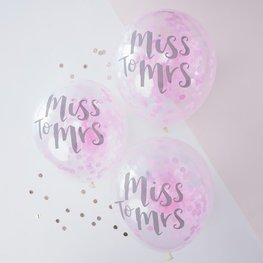 Ballons confettis latex Miss to Mrs
