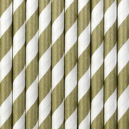 Pailles en papier doré mat