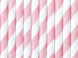 Pailles en papier rose clair