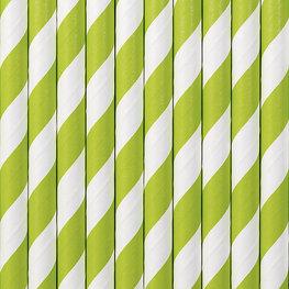 Pailles en papier vert lime