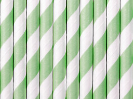 Pailles en papier vert menthe