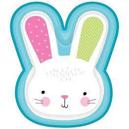 Assiettes Hello Bunny bleues Pâques