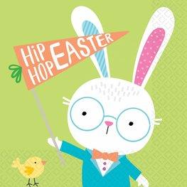 Serviettes Hello Bunny vertes Pâques