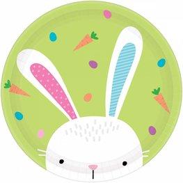 Assiettes Hello Bunny vertes Pâques