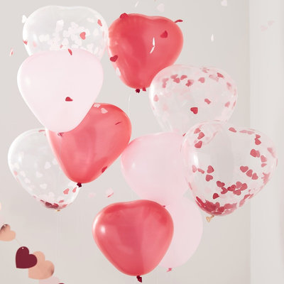 Ballons latex confettis coeurs
