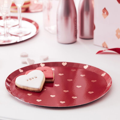 Assiettes St-Valentin coeurs rose gold