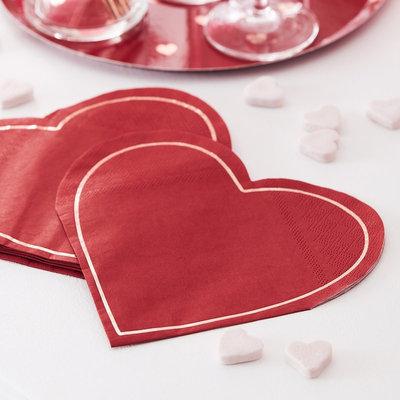 Serviettes coeurs rouges St-valentin