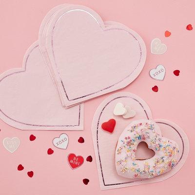 Serviettes coeurs roses St-valentin