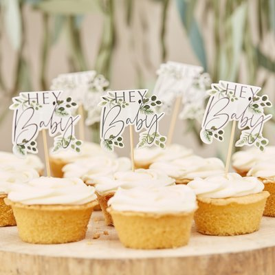 Cupcake toppers Botanical baby