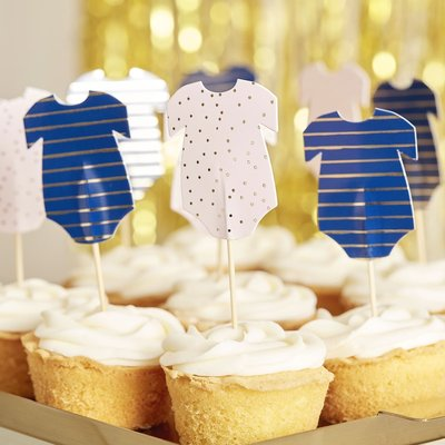 Cupcake Toppers Pink&Navy