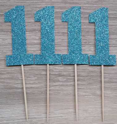 Cupcake toppers chiffre 1 bleu