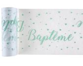 Chemin de table baptême vert menthe