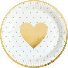 Assiettes coeur doré