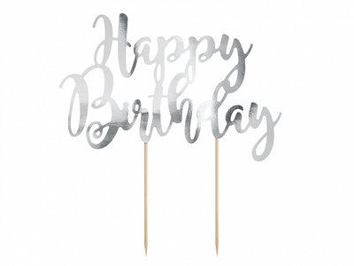 Cake topper happy birthday argenté